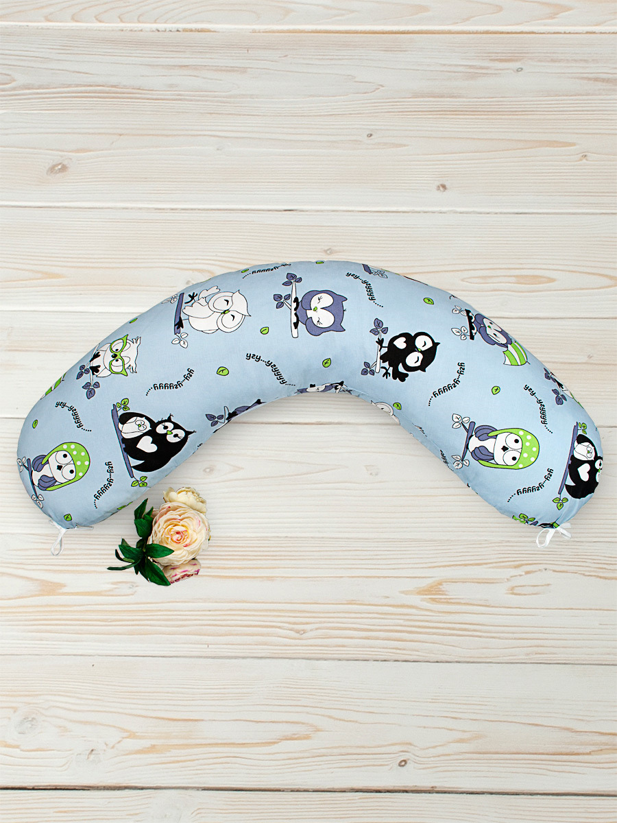 Наволочка для подушки беременных AmaroBaby Совы, AMARO-5001-S1, голубой, сиреневый, черный, 170х25 см