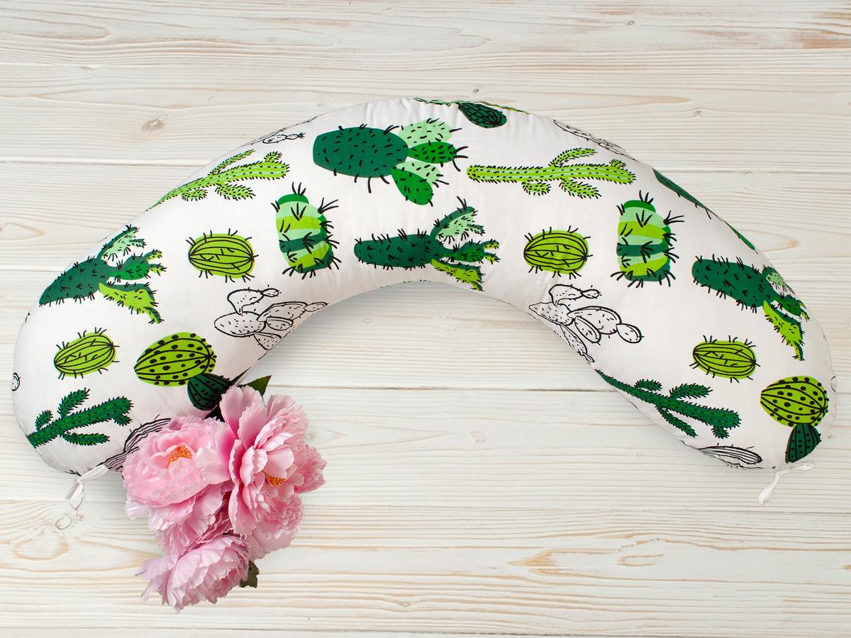 Наволочка для подушки для беременных AmaroBaby Кактусы, AMARO-5001-K, белый, зеленый, 170х25 см Пошив в строгом соответствии с ГОСТ. Внешний чехол на потайной...