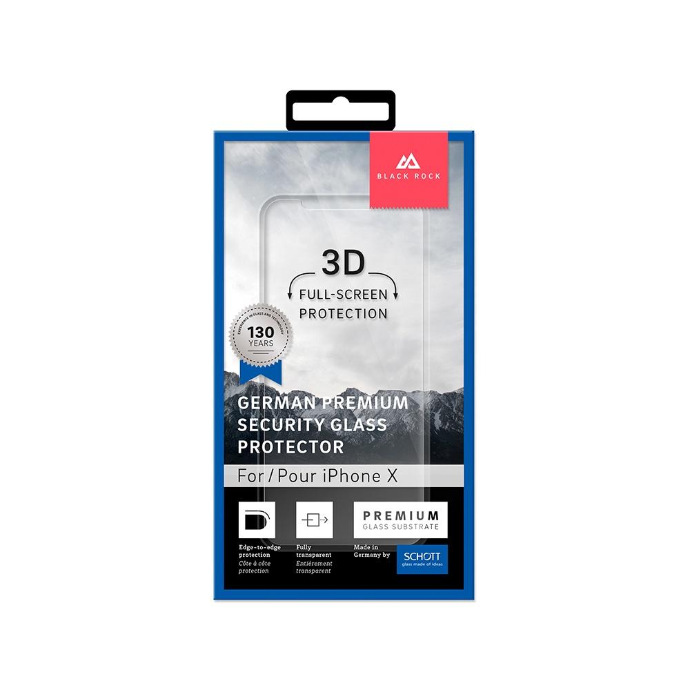 Защитное стекло 3D SCHOTT (0,3 мм, 9Н) для iPhone X/Xs, черная рамка, 4066SPC01, Black Rock