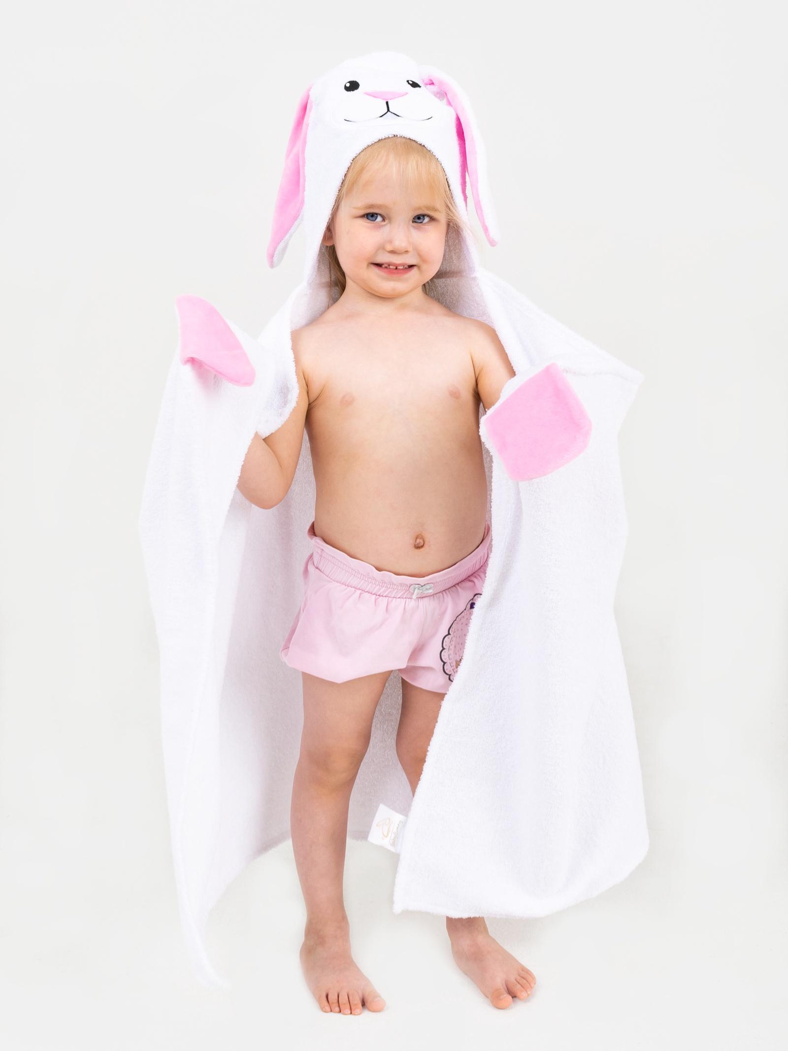 Полотенце с капюшоном BabyBunny - Зайчик с розовыми ушками