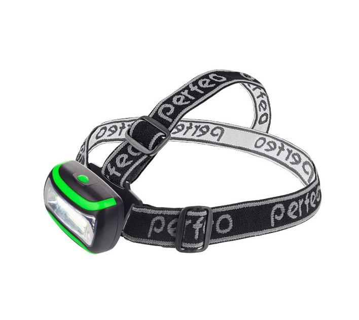 Фонарь налобный светодиодный Perfeo PF_A4450, 3Вт, 3AAA, цвет: чёрно -зелёный налобный фонарь perfeo pf a4403 синий