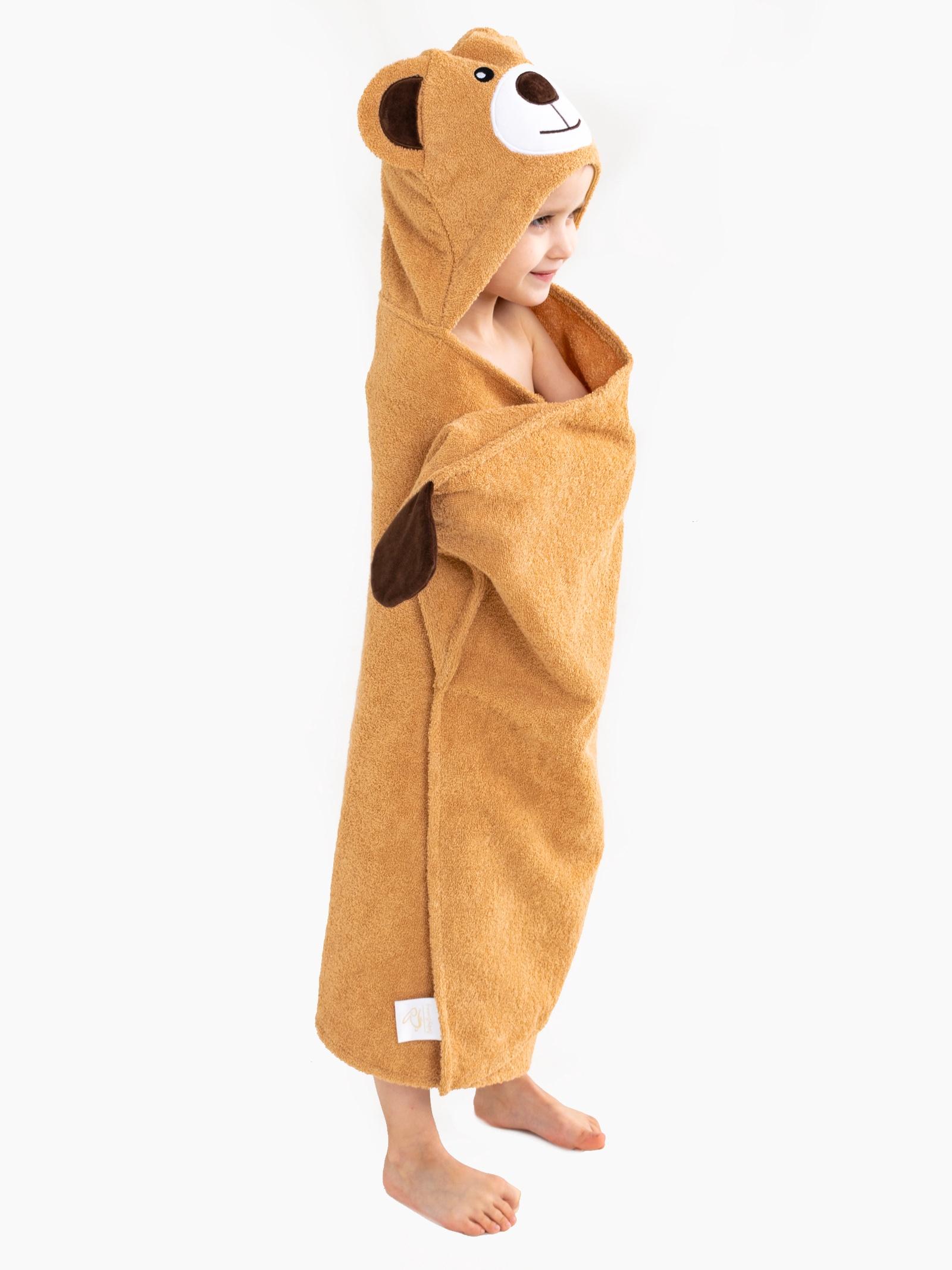 Полотенце с капюшоном BabyBunny - Мишка, коричневый