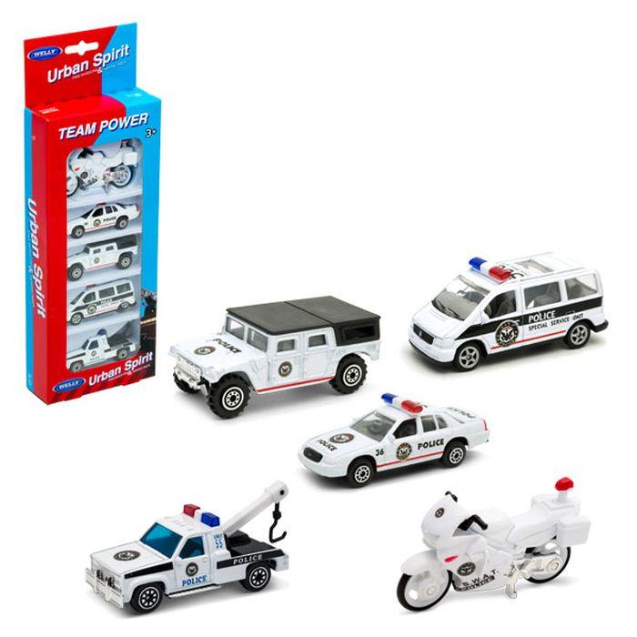 Набор машинок Welly Полицейская команда, 5 шт welly набор машинок пожарная служба 3 шт
