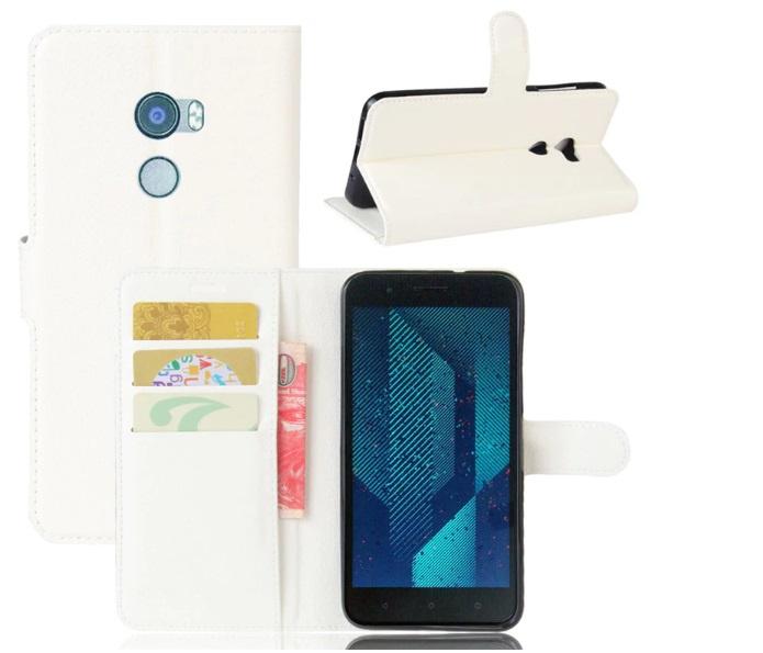 Фирменный чехол-книжка из качественной импортной кожи с мульти-подставкой застёжкой и визитницей для HTC Bolt/HTC Desire 10/ Desire 10 Lifestylle белый MyPads