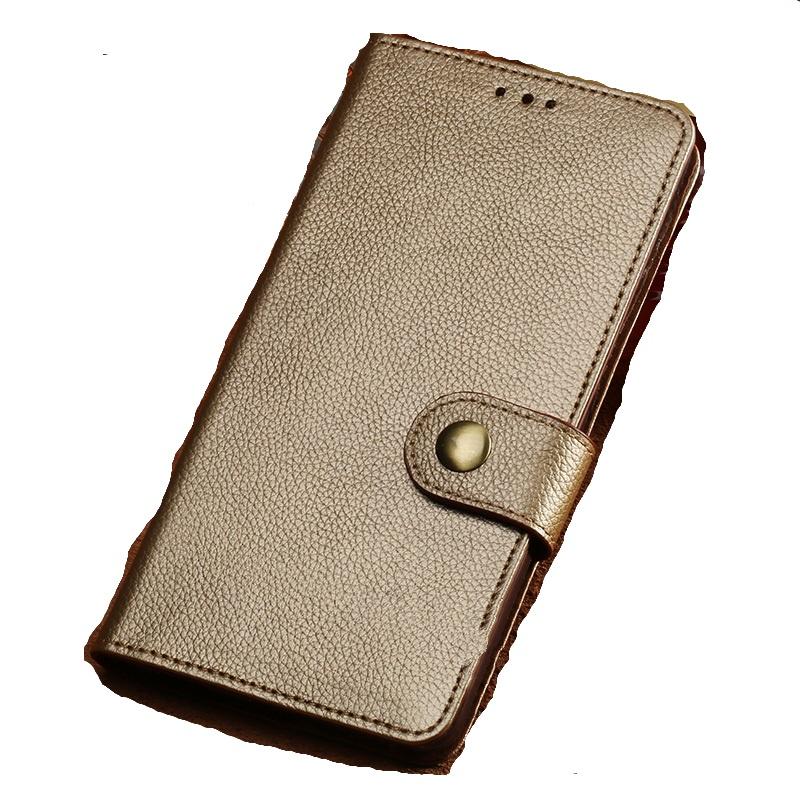 Фирменный чехол-книжка из качественной импортной кожи с мульти-подставкой застёжкой и визитницей для Meizu Pro 7 Plus с окном для второго экрана золотой MyPads