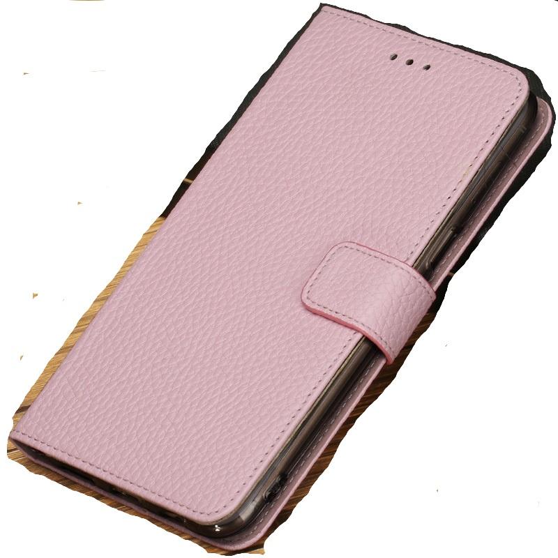 Фирменный чехол-книжка из качественной импортной кожи с мульти-подставкой застёжкой и визитницей для Meizu Pro 7 с окном вызова для второго экрана розовый MyPads