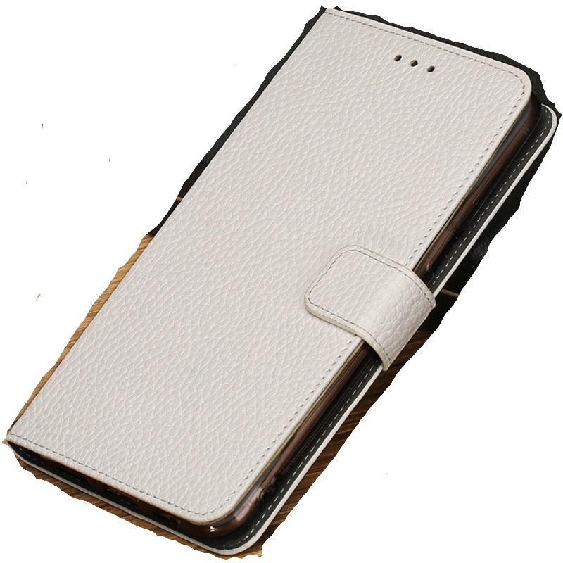 Фирменный чехол-книжка из качественной импортной кожи с мульти-подставкой застёжкой и визитницей для Meizu Pro 7 с окном вызова для второго экрана белый MyPads