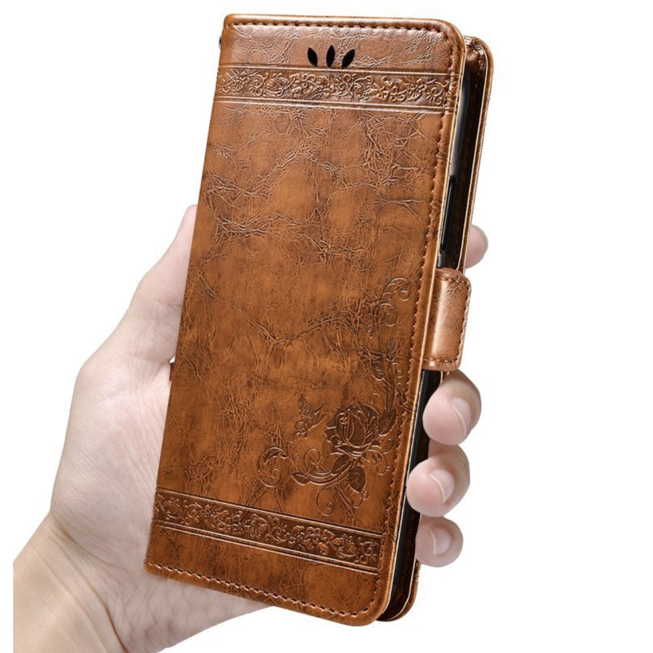 Фирменный чехол-книжка из качественной импортной кожи с мульти-подставкой застёжкой и визитницей для ZTE Blade L5 Plus / ZTE Blade L5 коричневый с рисунком MyPads