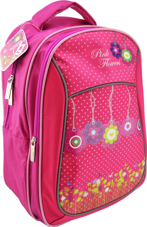 Рюкзак школьный BG Start Pink Flowers 40*29*15см (влагонепроницаемый полиэстер, уплотнённые лямки и спинка, светоотражающие элементы)