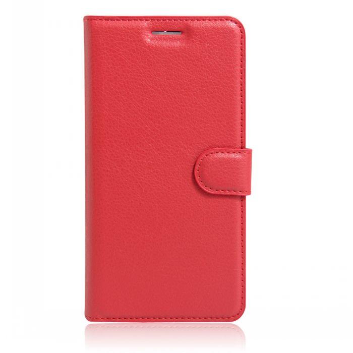 Фирменный чехол-книжка из качественной импортной кожи с мульти-подставкой застёжкой и визитницей для Asus Zenfone Go ZC451TG 4.5 (Z00SD) красного цвета MyPads