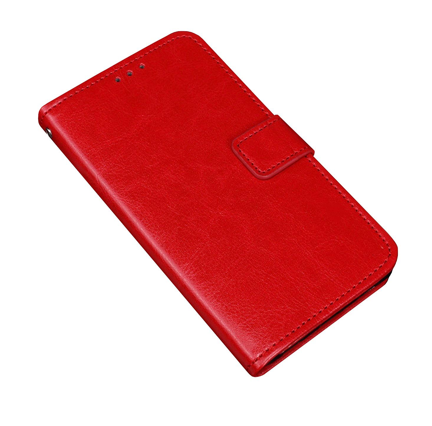 Фирменный чехол-книжка из качественной импортной кожи с мульти-подставкой застёжкой и визитницей для Alcatel SHINE LITE 5080X 5.0 красный MyPads