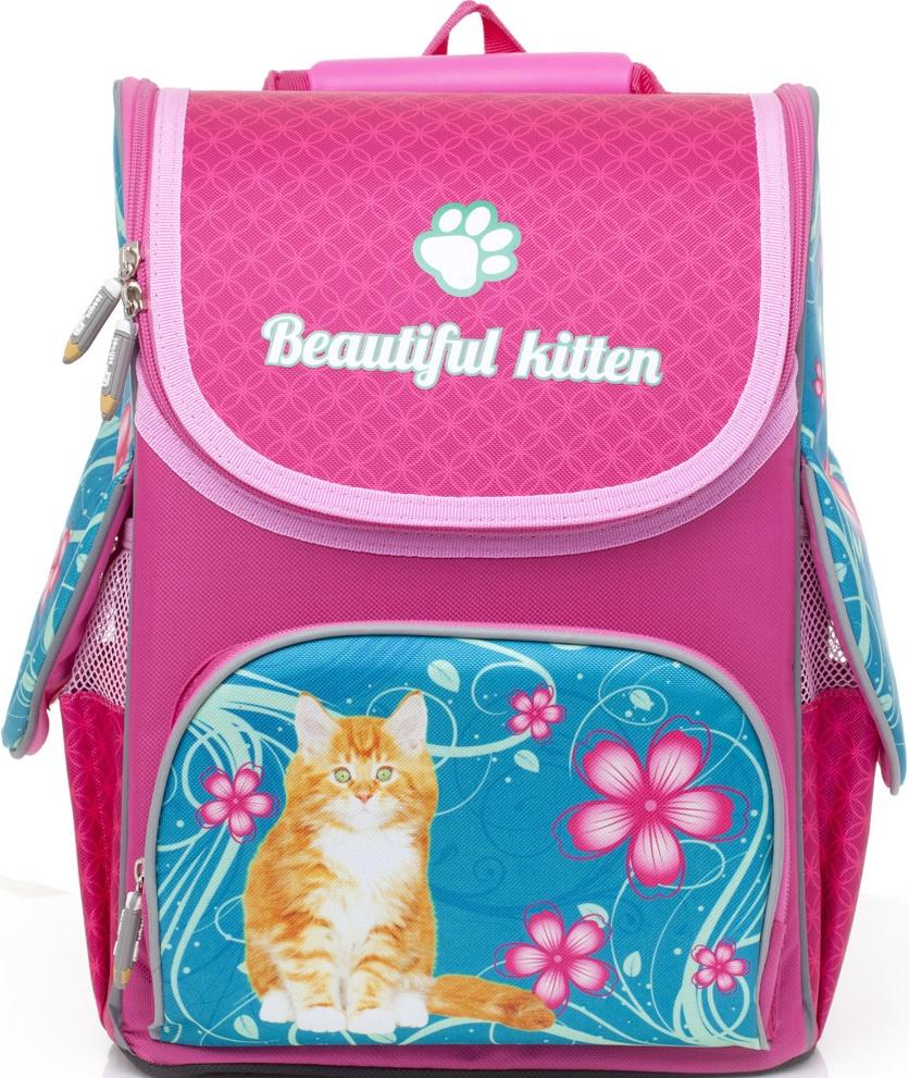 Рюкзак-ранец школьный BG Compact Beautiful Kitten 34*25*17см (влагонепроницаемый полиэстер, вентилируемая эргономичная спинка, уплотнённые лямки, светоотражающие элементы)