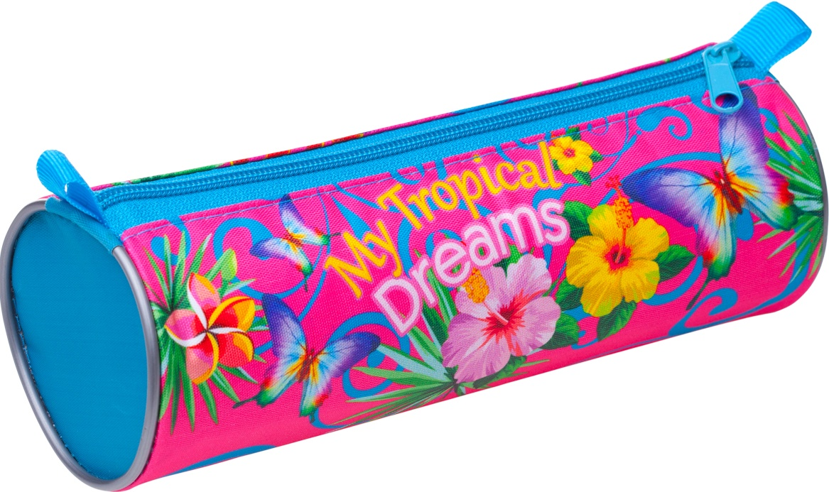 Пенал-тубус BG на молнии Tropical Dreams, текстиль 210х70 мм