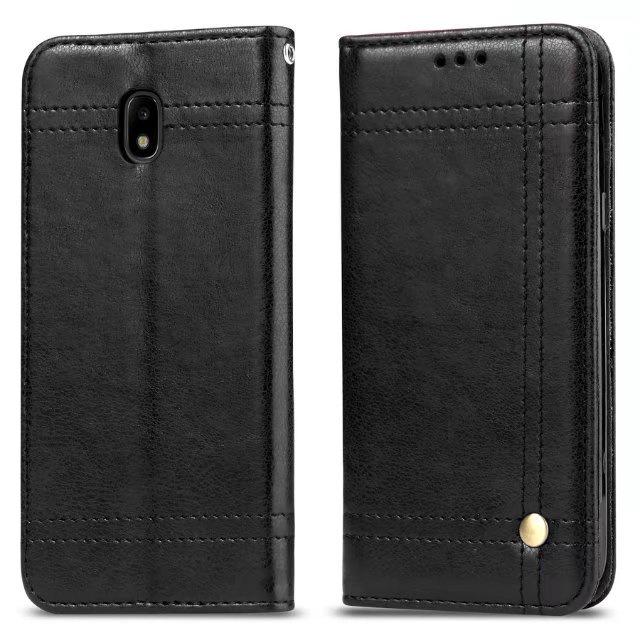 Фирменный чехол-книжка из качественной импортной кожи с мульти-подставкой застёжкой и визитницей для Samsung Galaxy J5 (2017) SM-J530F черный MyPads