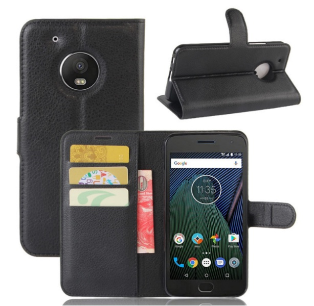 Фирменный чехол-книжка из качественной импортной кожи с мульти-подставкой застёжкой и визитницей для Motorola Moto G5 Plus 5.2 черный MyPads