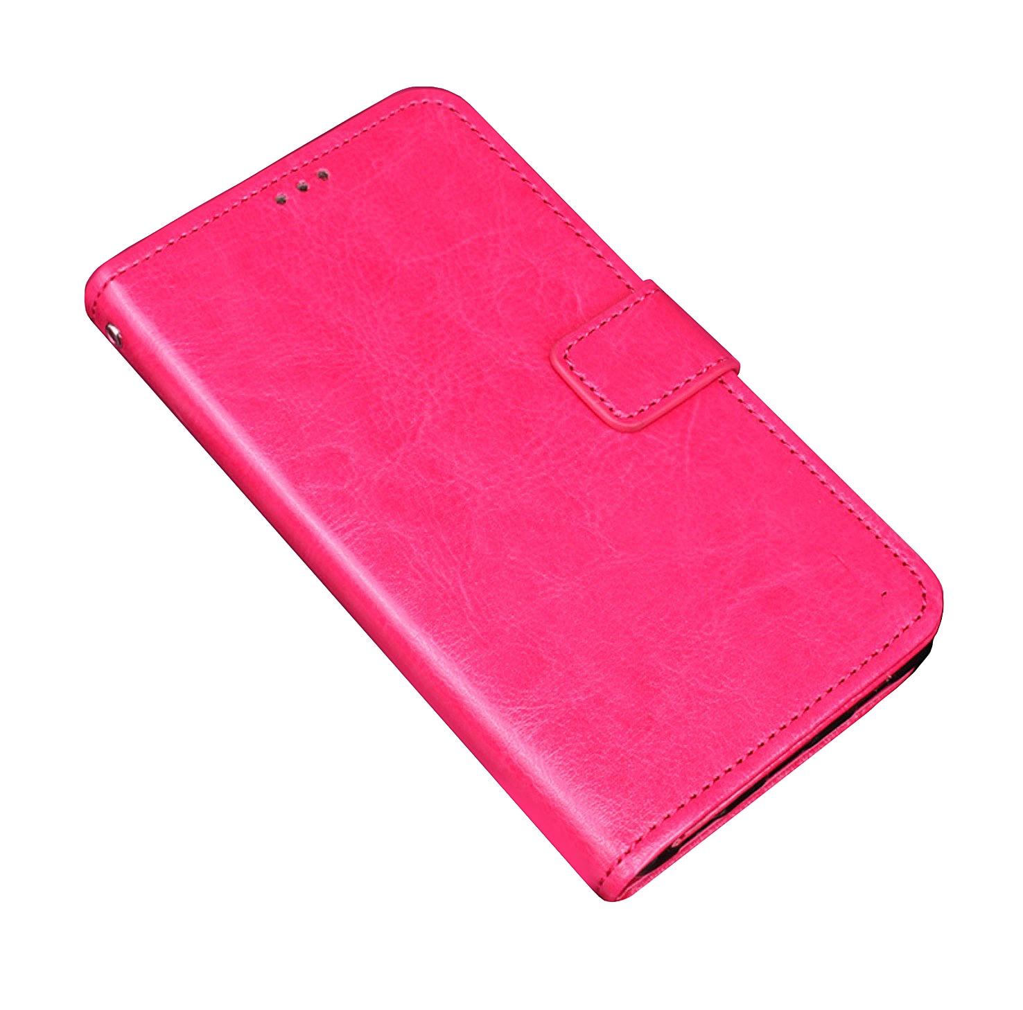 Фирменный чехол-книжка из качественной импортной кожи с мульти-подставкой застёжкой и визитницей для Digma Vox S502F 3G розовый MyPads