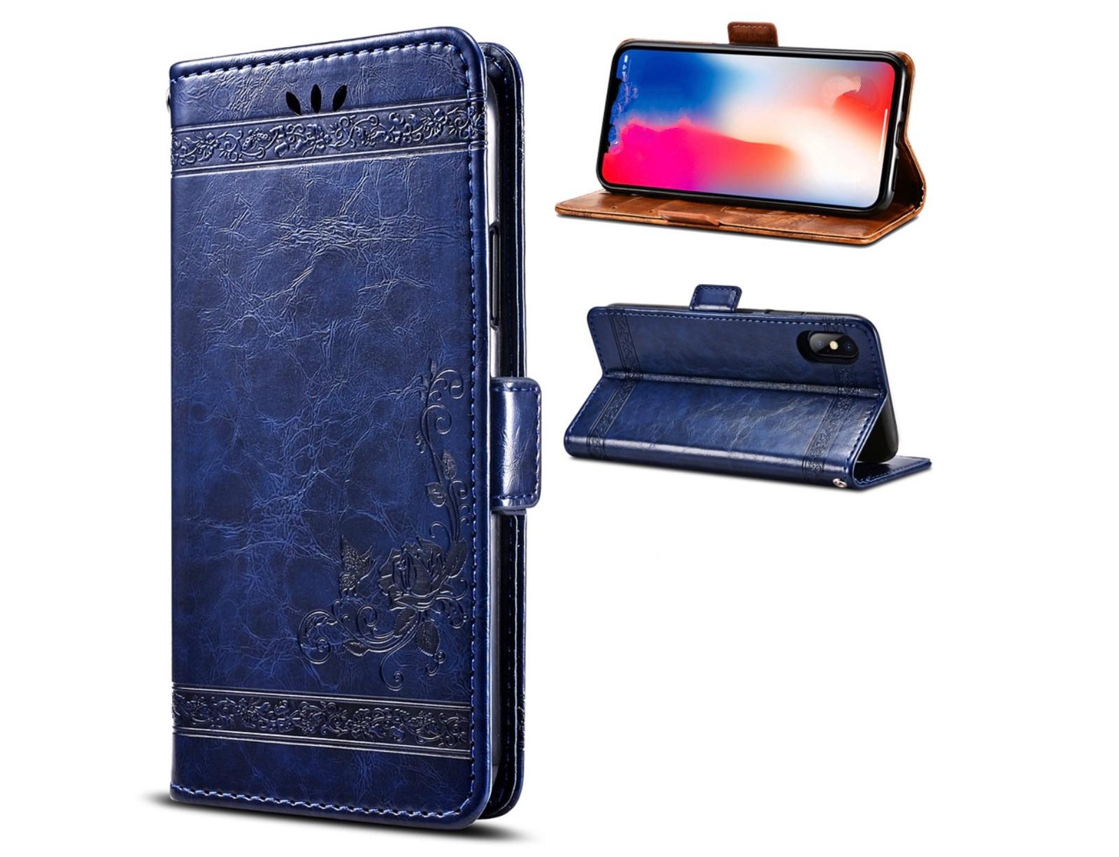 Фирменный чехол-книжка из качественной импортной кожи с мульти-подставкой застёжкой и визитницей для ZTE Blade L5 Plus / ZTE Blade L5 синий с рисунком MyPads