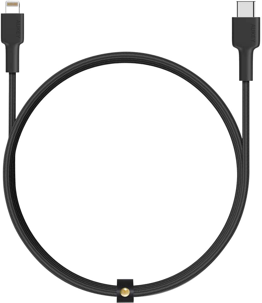 Кабель AUKEY Braided Nylon MFi USB-C to Lightning Cable, 2m, черный