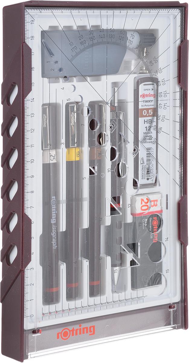 Набор изографов Rotring College Set S0699380 в компл.:0.25/0.35/0.5мм/аксессуары
