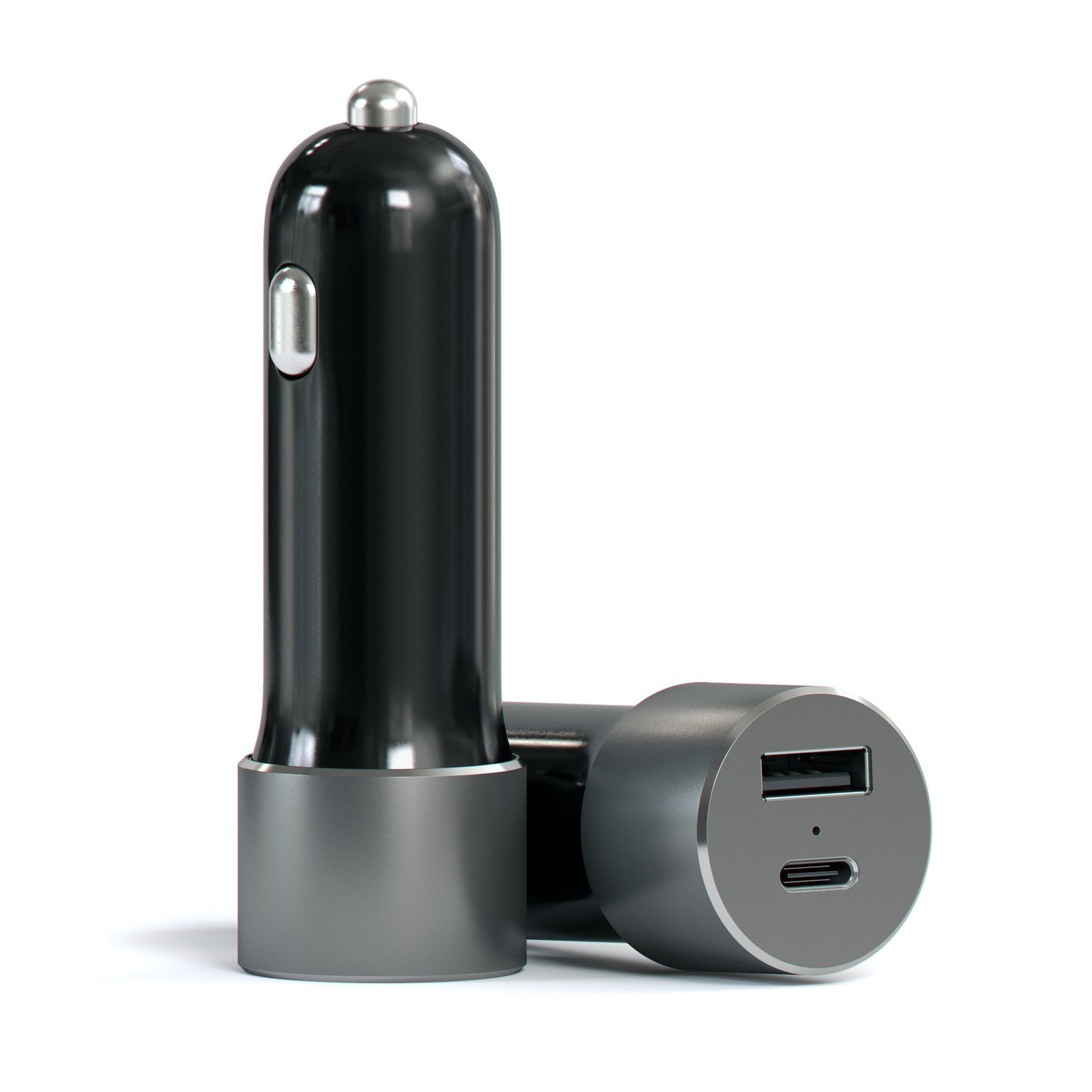 Автомобильное зарядное устройство Satechi 48W С Type C и USB (Серый) портативное зарядное устройство samsung eb p3020 5000 мач переходник usb type c серебристо серый