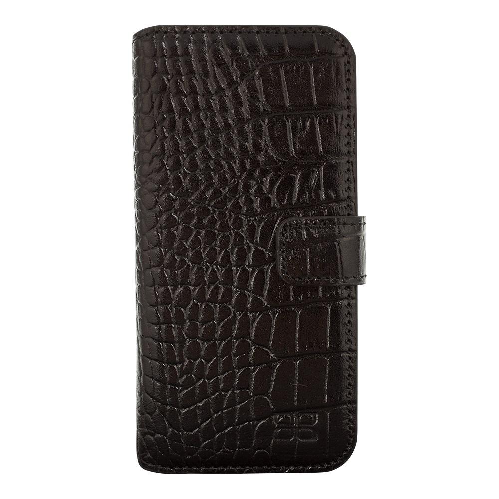 Кожаный чехол книжка для HTC M9 Bouletta (Портмоне) Черный-K1 (Кроко)