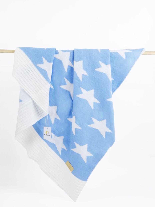 пледы Плед детский Ma Licorne Star bleu (голубой), 1х1 м