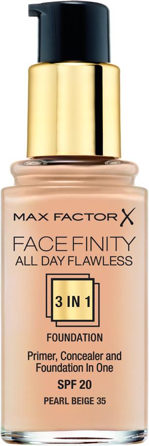 Max Factor Тональная основа 3в1 Facefinity All Day Flawless, SPF 20, тон №35 (pearl beige), 30 мл тональная основа facefinity all day flawless 3in1 max factor лицо