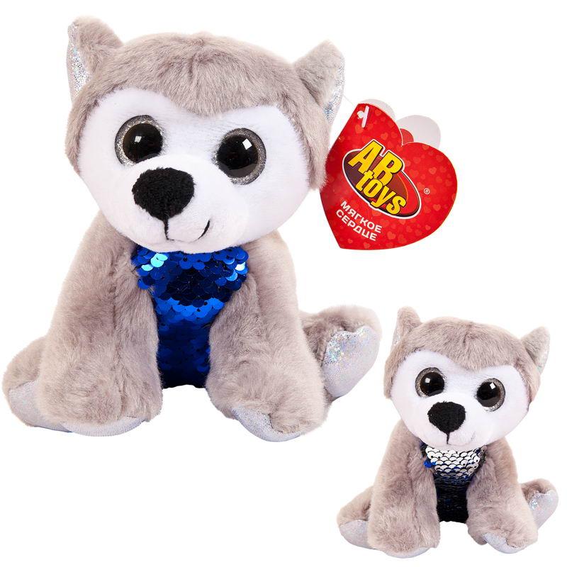 Мягкая игрушка Abtoys Собака, с пайетками, M2035, мультиколор, 15 см