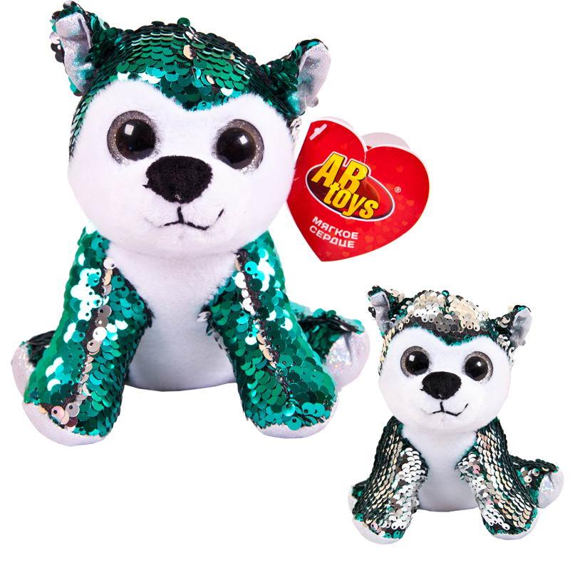 Мягкая игрушка Abtoys Собака, с пайетками, M2034, мультиколор, 15 см