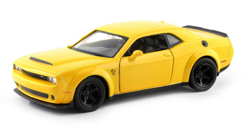 Машинка Uni-Fortune RMZ City Dodge Challenger SRT Demon 2018, 554040-YL, желтый машинка uni fortune rmz city ford mustang 2015 без механизмов 344028sm b желтый