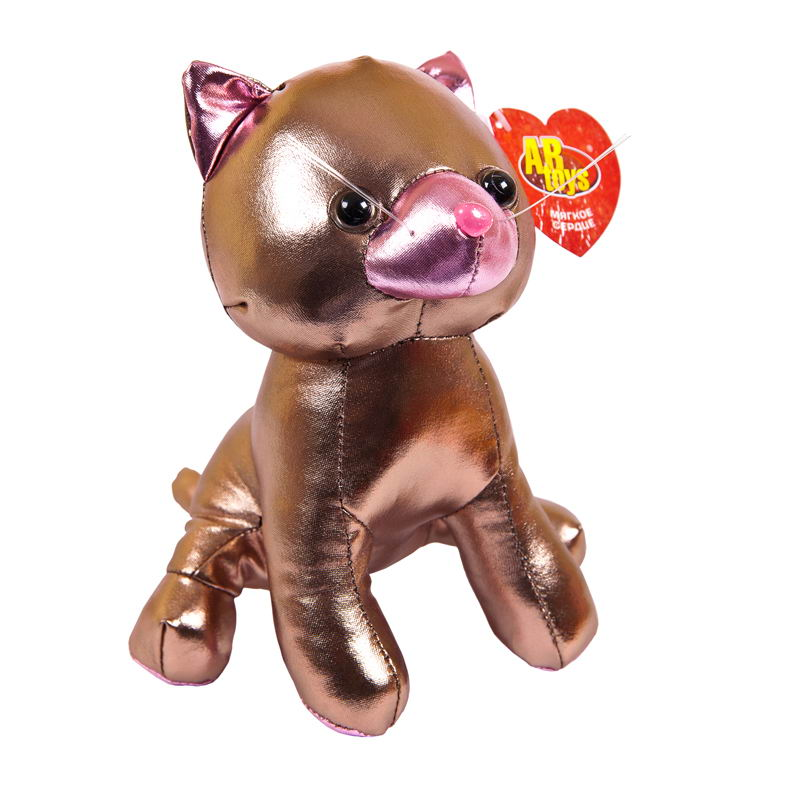 Мягкая игрушка Abtoys Металлик Кошка, M2051, розовый, 18 см