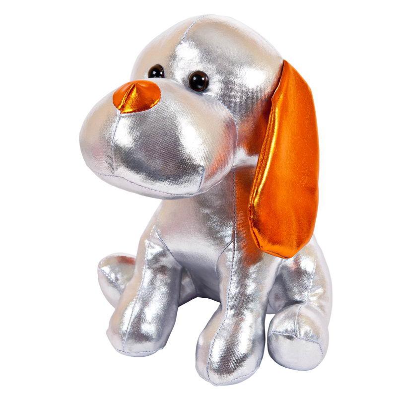 Мягкая игрушка Abtoys Металлик Собака, M2050, серебряный, 17 см