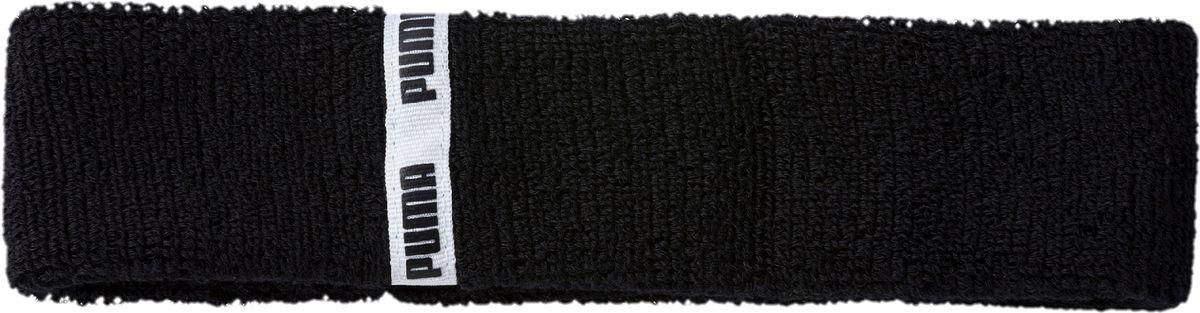 Повязка на голову спортивная Puma TR Ess Headband Classic, 05346503, черный, белый цена