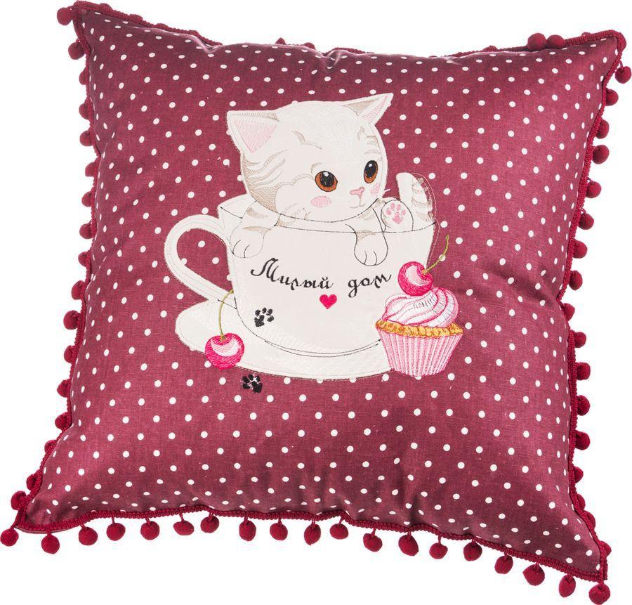 Подушка декоративная Santalino Милый дом, 850-818-3, бордовый, 45 x см