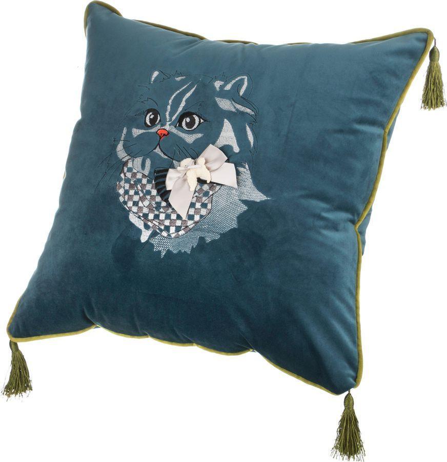 Подушка декоративная Santalino Кот, 850-827-22, бирюзовый, 45 x 45 см цены онлайн