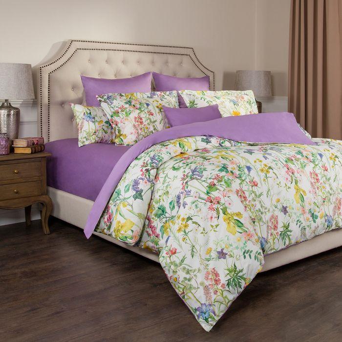 цена на Комплект постельного белья Santalino Флер, 2-спальное, наволочки 50 х 70 см, 985-220, белый, сиреневый