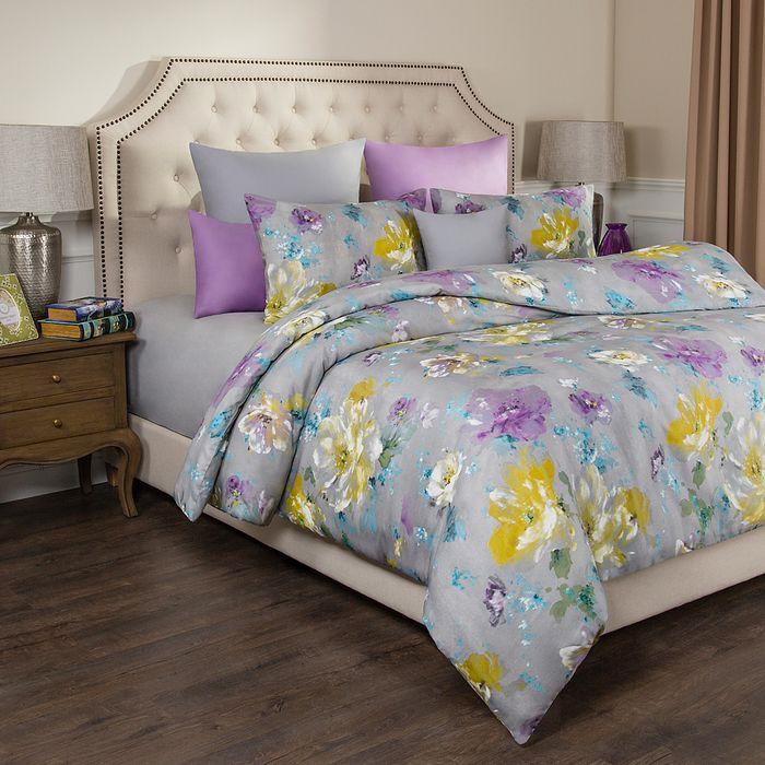 цена Комплект постельного белья Santalino Цветы, 1,5-спальный, наволочки 70 х 70 см, 984-709, серый онлайн в 2017 году