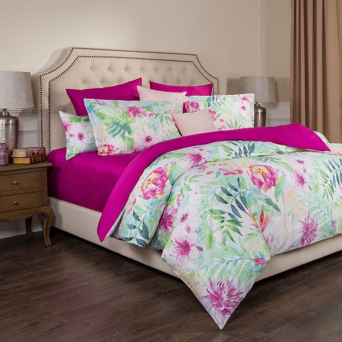 цена на Комплект постельного белья Santalino Тропикана, 2-спальное, наволочки 50 х 70 см, 985-240, белый, фуксия
