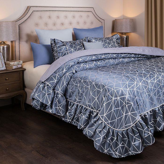 Комплект постельного белья SANTALINO Комплект на кровать Модерн, покрывало, 250 х 230 см, 2 наволочки 50 х 70 см серый комплект для спальни сайлид twiggi покрывало 230 х 250 см 2 наволочки 50 х 70 см цвет голубой
