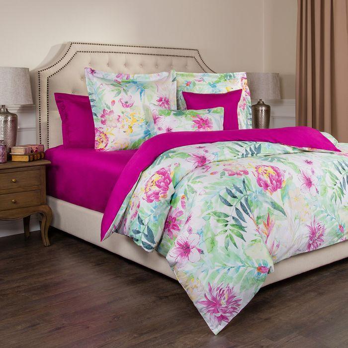 цена на Комплект постельного белья Santalino Тропикана, 2-спальное, наволочки 70 х 70 см, 985-241, белый, фуксия