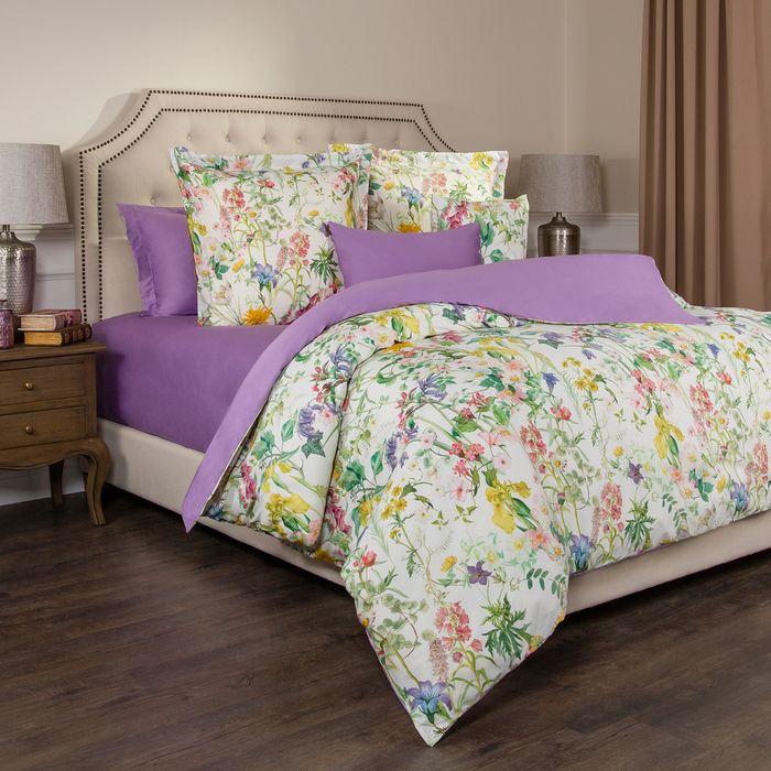 Комплект постельного белья Santalino Флер, 1,5-спальный, наволочки 70 х 70 см, 985-225, белый, сиреневый все цены