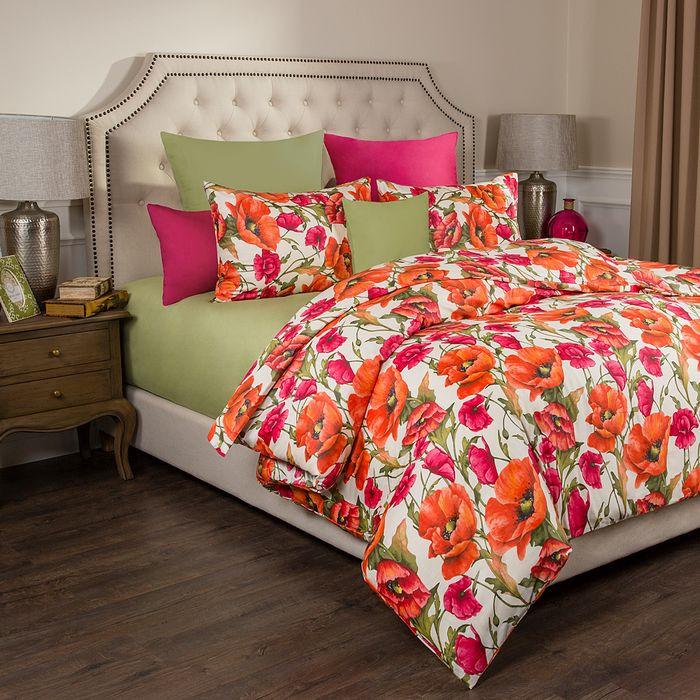 цена на Комплект постельного белья Santalino Маки, 2-спальное, наволочки 50 х 70 см, 984-023, светло-зеленый