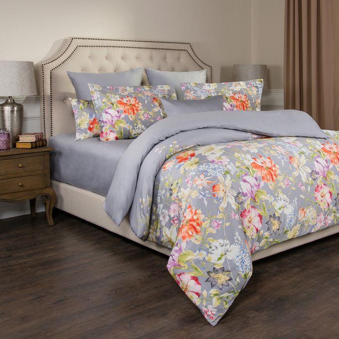 цена на Комплект постельного белья Santalino Пастораль, 2-спальное, наволочки 50 х 70 см, 985-213, серый
