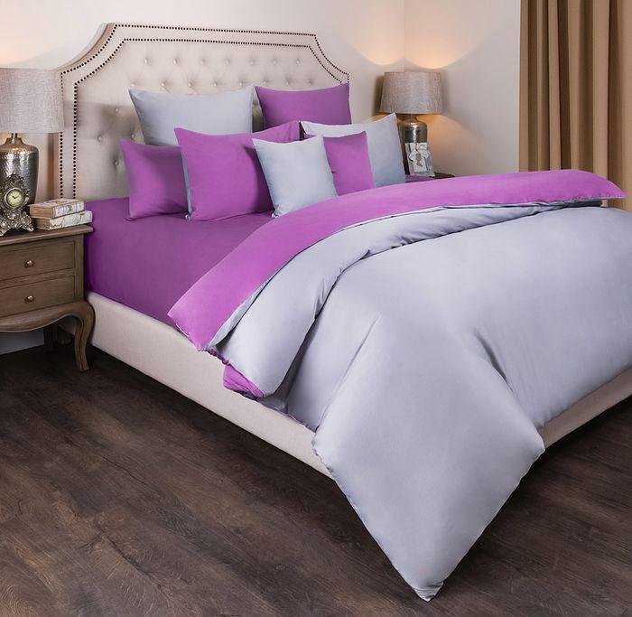 Комплект постельного белья Santalino Мозаика, 2-спальное, наволочки 50 х 70 см, 985-024, серый, фуксия