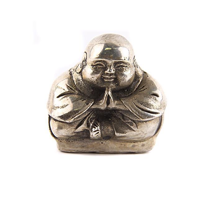 Статуэтка Молящийся хотей. Металл, чеканка. Китай, вторая половина XX века складной японский бинокль regent хромированный металл искусственная кожа regent япония вторая половина xx века