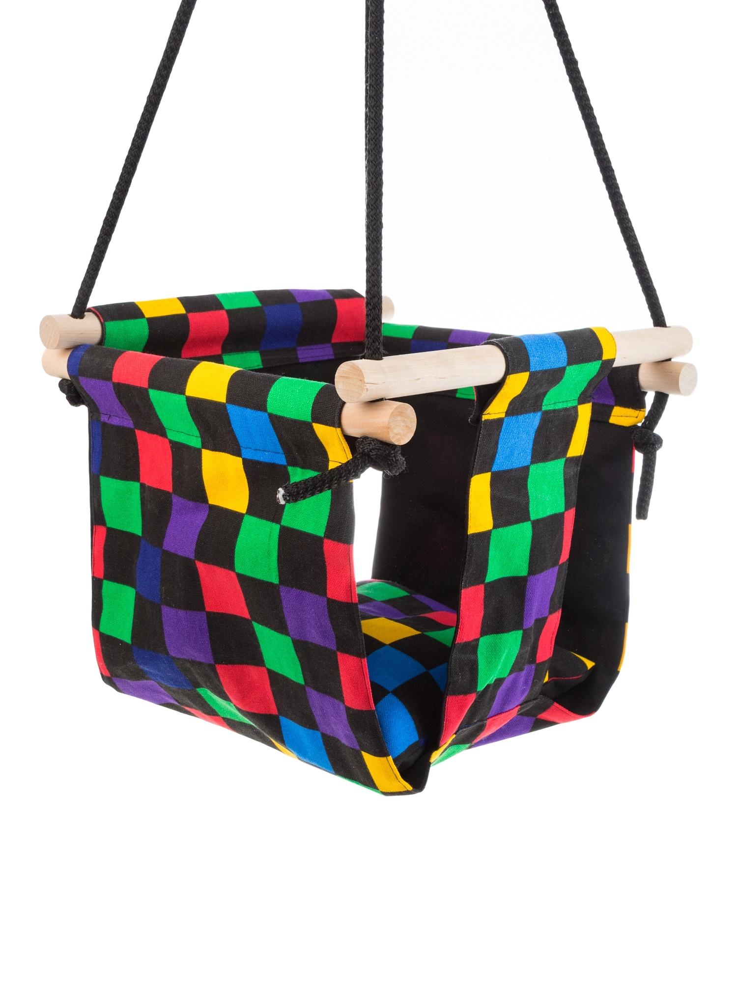 Подвесные качели Белогривая лошадка Цветные квадраты
