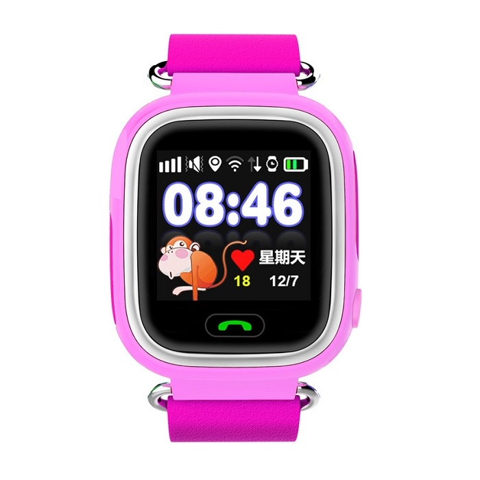 Часы Smart Baby Watch Q90 с сенсорным экраном - Розовые q100 q750 smart watch phone baby children kids gps tracker 1 54 touch screen wifi location sos anti lost device safe pk q50 q90