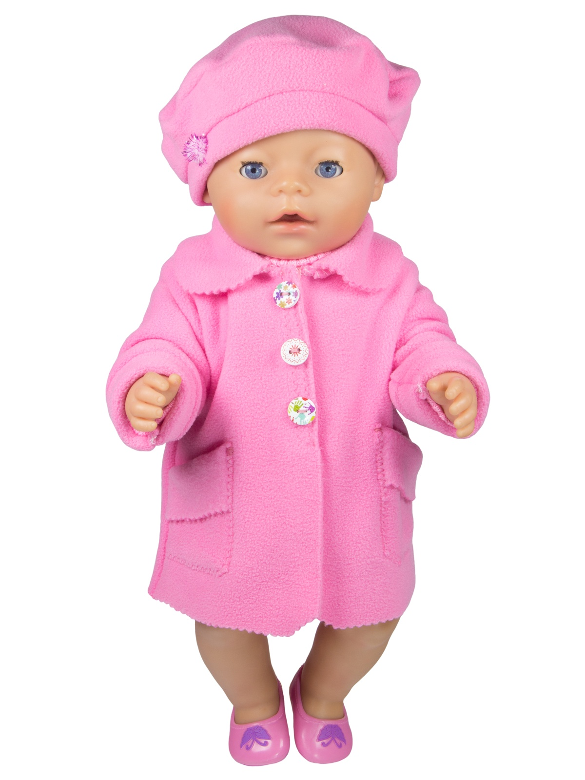 цена Одежда для кукол Модница Пальто с беретом для пупса 43см розовый онлайн в 2017 году
