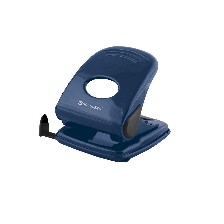 Дырокол BRAUBERG  Endeavor , металлический, большой, на 40 листов, синий 220947
