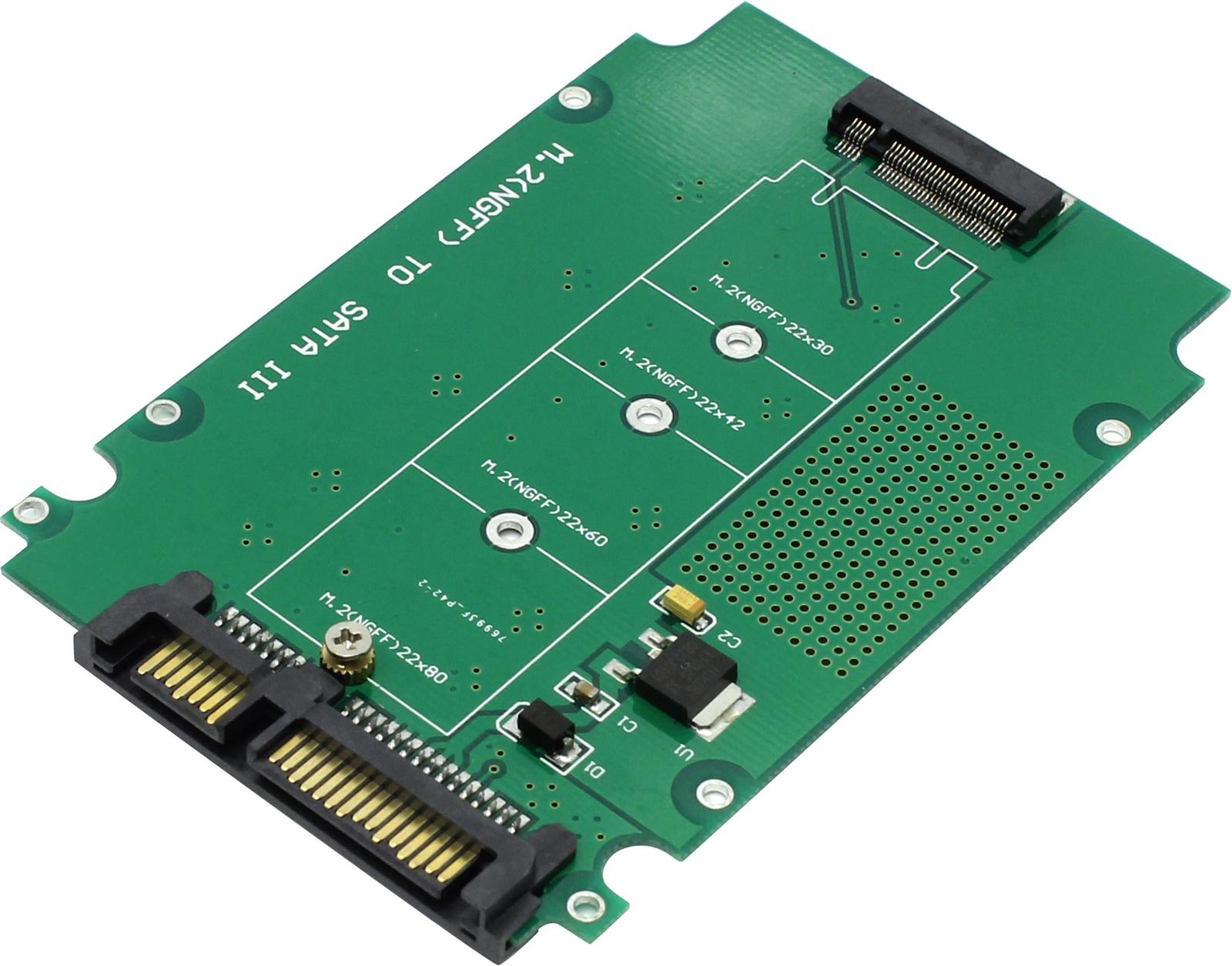 M2S900, Переходник SATA 6G to M.2 (NGFF) ключ B+M, Espada переходник sata 8 pin